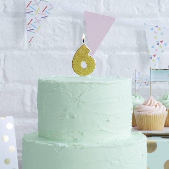 Gold Glitter Six 6 Candle Birthday