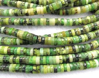 3-10mm Natural Chrysoprase gemstone,rondelle heishi olive Loose Beads,Australia jade stone