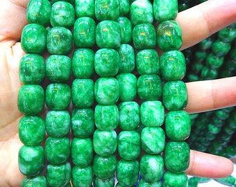 10-30mm Natural Emeral Green Jade Gemstone,Rice Barrel  stone Beads strand 16inch