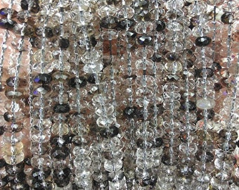 A+ 5*8mm Natural white crystal&smoky Quartz,rondelle abacuse faceted charm beads Full strand 16""
