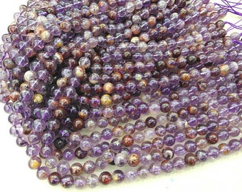 8mm Natural purple Rutilated Quartz,crytal round ball Loose Beads bracelet necklace