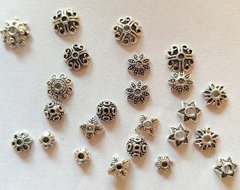 6 Sterling Silver bead caps silver bead cap 8mm Sterling Silver flower bead caps flower caps