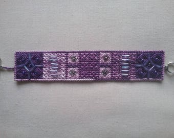 Hand embroidered and beaded cuff bracelet
