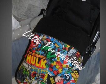 marvel comic super heroes baby pram buggy stroller stay put blanket/footmuff black red green blue