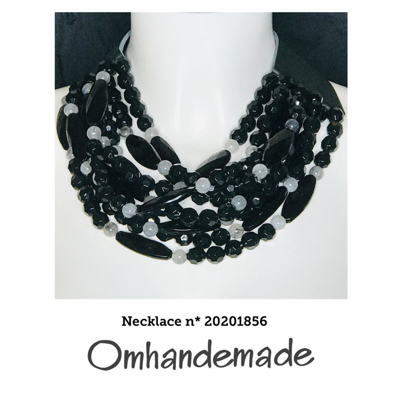 20201856 Black and grey women/'s necklace layered multiwire necklace in black relief and gray collar leather necklace collar