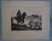 Vintage Drypoint Print quot Homeward Bound quot by Joseph C. Allison Signed by Artist Overall in Good Condition