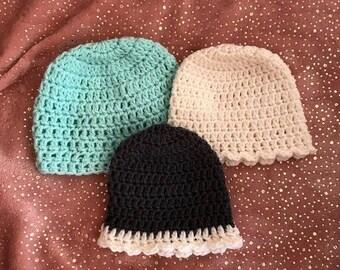 Handmade crochet baby beanies