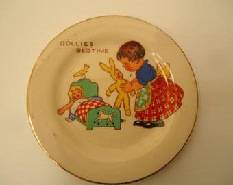 """Vintage 1930's child's tea set plate """"Dollies bedtime"""""""