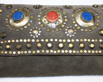 Grey Suede Metal Studded Clutch/Handbag Moroccan Stone and Mineral