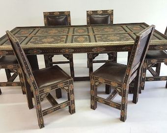 Royal Extra Large Vintage Camel Bone And Leather Dining Room Set Living  Room  Moroccan Table With Chairs