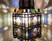 large Vintage rustic floor glass moroccan lamp, moorish handmade metal lantern unique ambient lighting theme known as mosque lantern