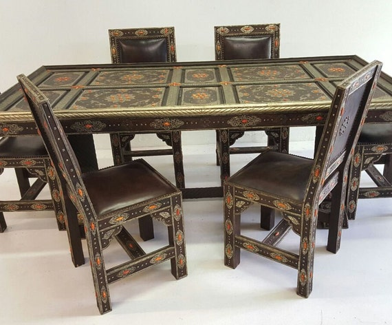 Royal Extra large vintage camel bone and leather dining room set living  room -moroccan table with chairs