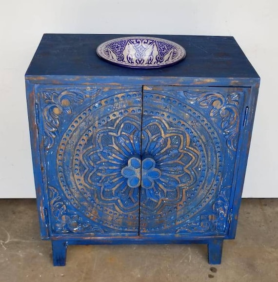 Blue Moroccan Bathroom Sink Vanity Cabinet This Is The Etsy