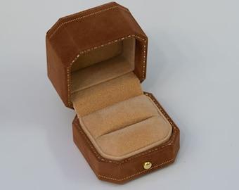 3+ Colors | Toffee Brown Sueding Velvet Leather Ring Box Hexagon Ring Box Handmade from Japan Engagement & Wedding Set Elegant Keepsake Box