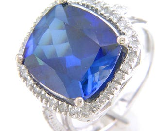10K White Gold Cushion Cut Created Sapphire  Ring