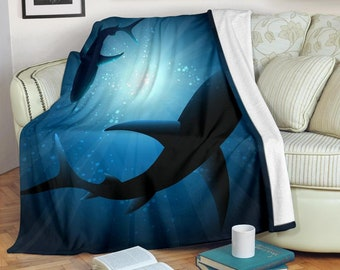 Shark Blanket - Shark Throw Blanket - Shark Fleece Blanket - Shark Adult Kid Blanket - Shark Gifts Her Him
