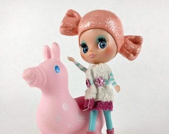 OOAK LPS Blythe Doll Candyhead, Custom Petite Blythe Doll