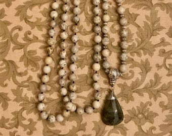 Grey Feldspar Mala with Moss Agate markers and Green Aventurine pendant