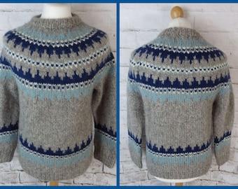 M/&S Size 12 Grey Multicolour Wool Mohair Jumper Fair Isle Nordic Autumn Winter