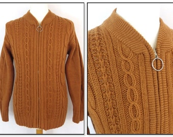 60s  Early 70s Hand Knit zip up cardigan