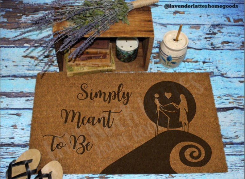 Simply Meant To Be Nightmare Before Christmas Welcome Mat Etsy