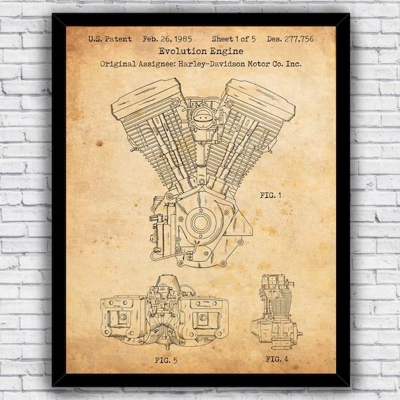 w// optional frames Vintage Harley Davidson patents four-pack wall art prints