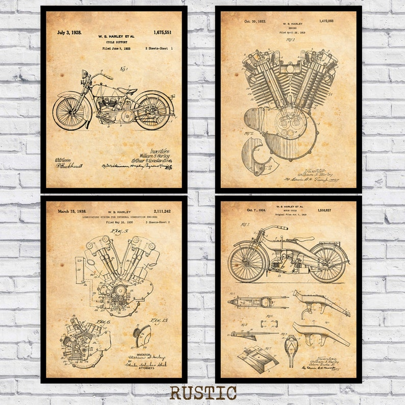 Pleasant Vintage Harley Davidson Motorcycling Patents Diagram Design Etsy Wiring Digital Resources Cettecompassionincorg