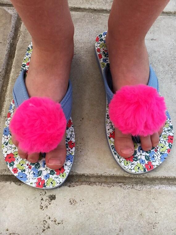 9e3adb89b4d Fluffy Pom Pom Shoe Clips Bright Pink Pom Poms for sandals