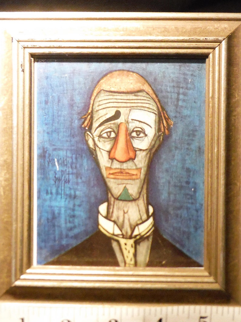 Superb Framed Bernard Buffet 1928 1999 Mini Masters Artist Buffet Title Head Of A Clown Lithograph Print Interior Design Ideas Apansoteloinfo