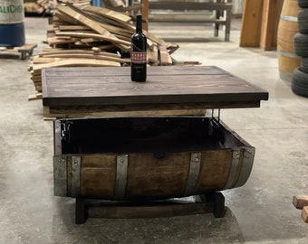 Wine Barrel Coffee Table with Lifting Hinges