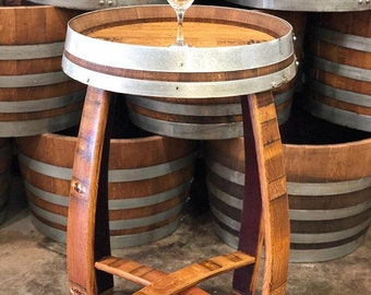 Wood barrel furniture Beer Barrel Wine Barrel Bistro Table Live Oak Wine Decor Wine Barrel Furniture Etsy
