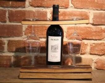 Wine Barrel Stave Bottle and Glass Holder