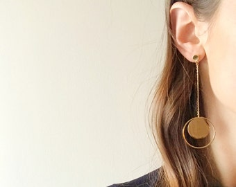 Chain Drop Circle Earrings - Hypoallergenic Titanium