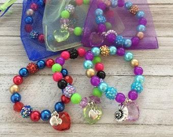 12 Descendants Bracelets Birthday Party Favors In Organza Bags