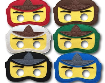 Ninjago Party Masks, Ninjago Party Favors, Pack of 6, Ninja Felt Mask, Ninjago Birthday, Ninja decorations