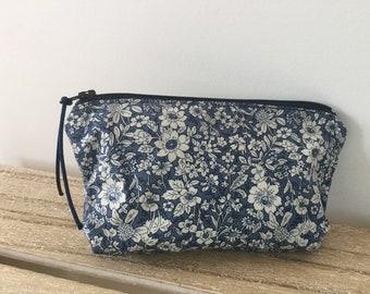 Handmade blue floral mini make up bag