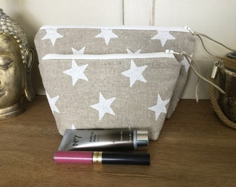 Set of Two Linen Make Up Bags