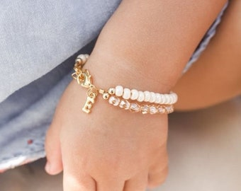 Baby Bracelet For Girls Cream First Birthday Gift Personalized Jewelry Initial Charm Toddler