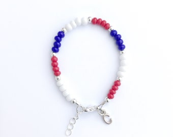 Patriotic bracelet-baby bracelet-toddler bracelet-independence day-4th of july-red white and blue-toddler jewelry-little girl braclet-silver