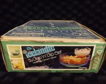 Vintage Icelandic 3 Piece Chip and Dip Set Avocado Green A7098 Hazelware Brockway Glass