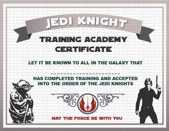 image 0 - Jedi Knight Certificate Template