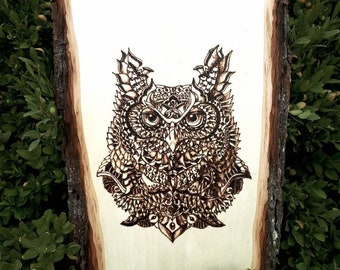 Wood plaque pyrography art -OWL