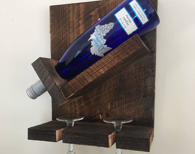 Rustic Wine and Glass Holder