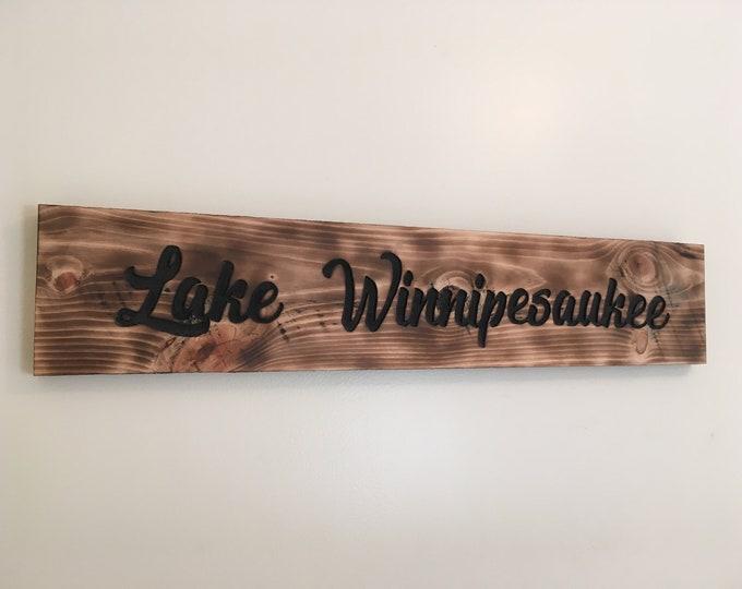 Lake Winnipesaukee Hand Carved Sign