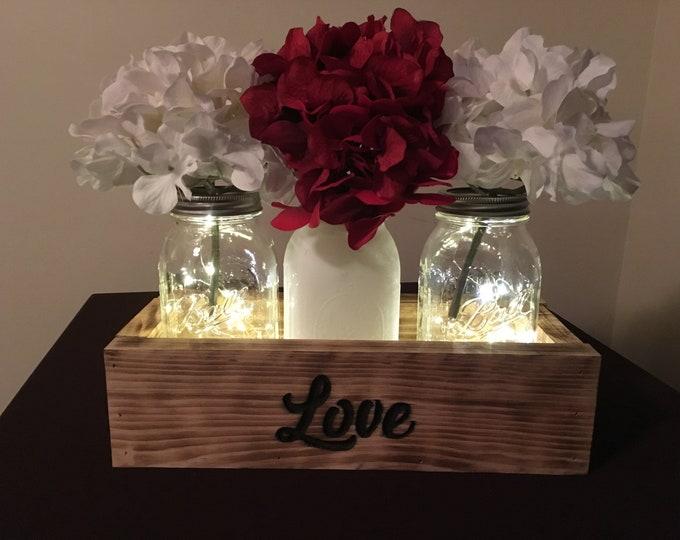 Love Mason Jar Centerpiece