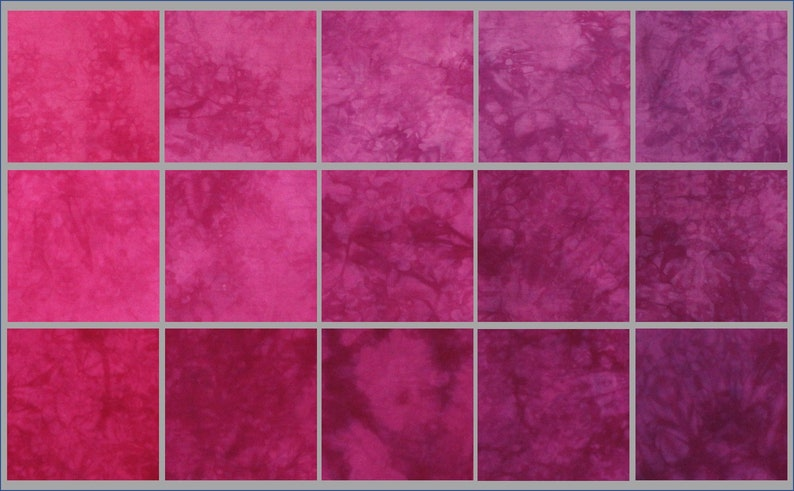 15 piece gradient 5 colors in 3 shades each Pink and purple hand dyed fabric bundle