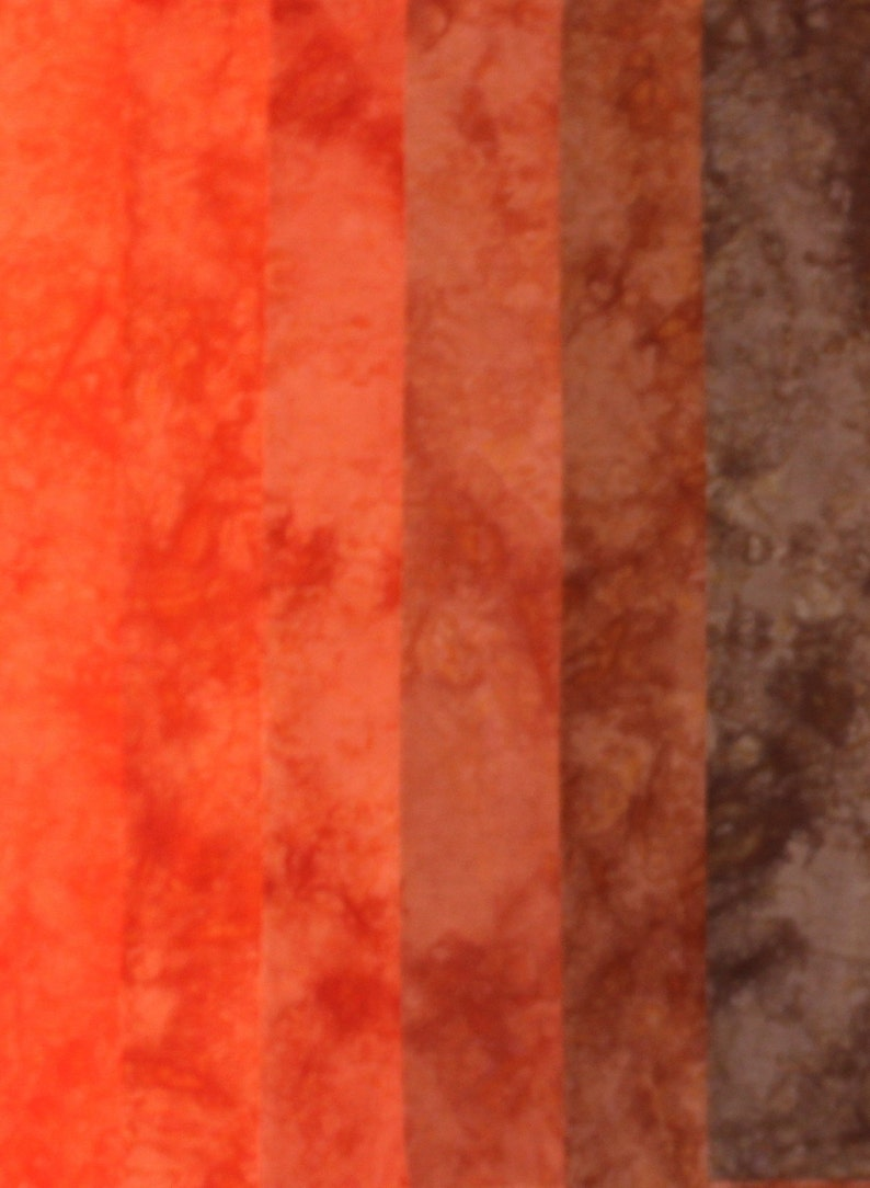 Orange to brown fat quarter bundle of hand dyed quilt cotton in a 6 step gradient