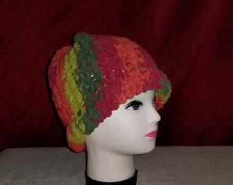 Red and green knit hat