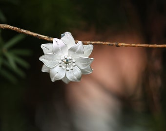 Round Flower Brooch handmade from fine silver