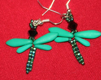 Green DragonFly Earrings